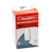 Healthstar Anti-Microbial Vinyl Multi-Purpose Glove, Large, Disposable, Powder Free, Industrial Quality, Comfortable (Box of 50)