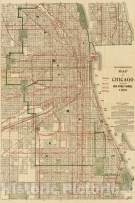 Historic Map - Blanchard's map of Chicago, 1906, Vintage Wall Art - 44in x 66in