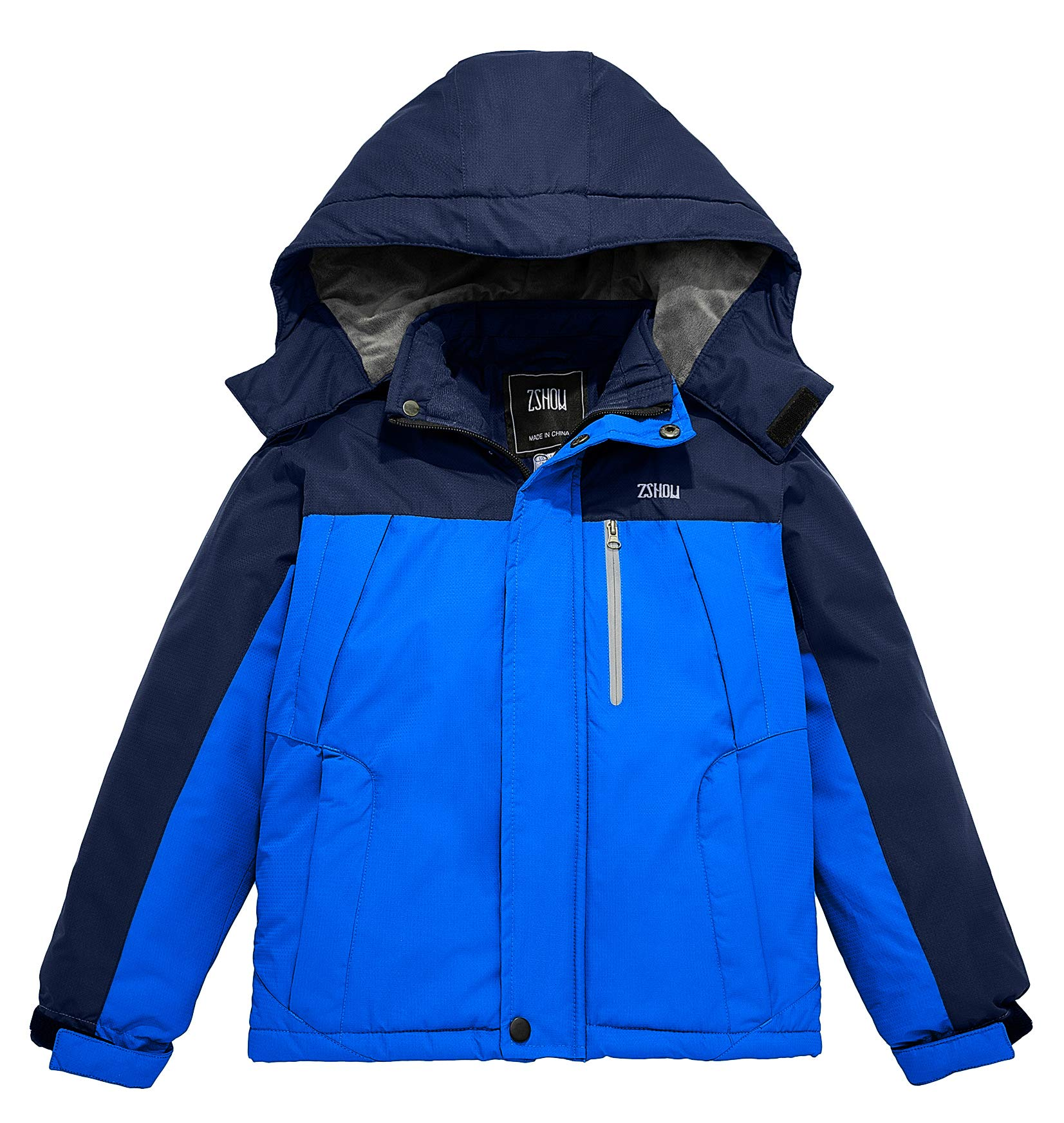 ZSHOW Boy's Waterproof Ski Jacket Windbproof Thick Winter Parka Coat with Detachable Hood
