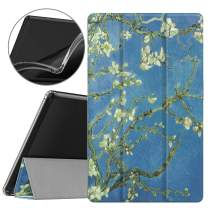 Dadanism All-New Amazon Fire HD 10 Tablet Case(9th Generation - 2019 Release) / (7th Generation - 2017 Release), [Flexible TPU Translucent Back Shell] for Fire HD 10.1 Inch Cover - Almond Blossom
