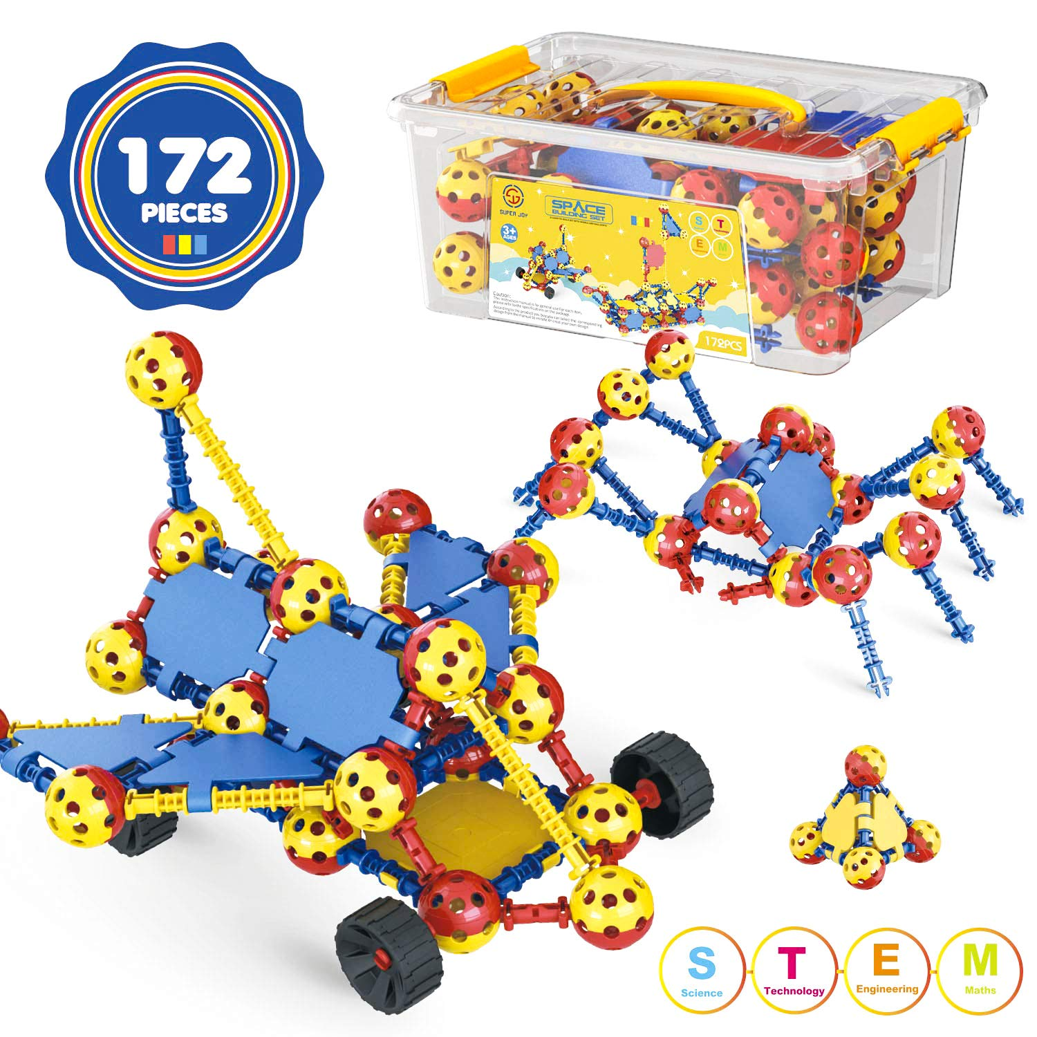 AOKESI STEM Building Toys for Kids 172 PCS Snap Together Building Kits | Engineering Early Learning Building Blocks Set Best Gift for Ages 3 ,4, 5, 6, 7 and 8 Year Old Boys and Girls |Top Blocks Game