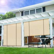 E&K Sunrise Roll up Shade Roller Shade Blinds Privacy Screen 7'Wx6'H for Porch Pergola Deck Gazebo Patio Back Yard Beige
