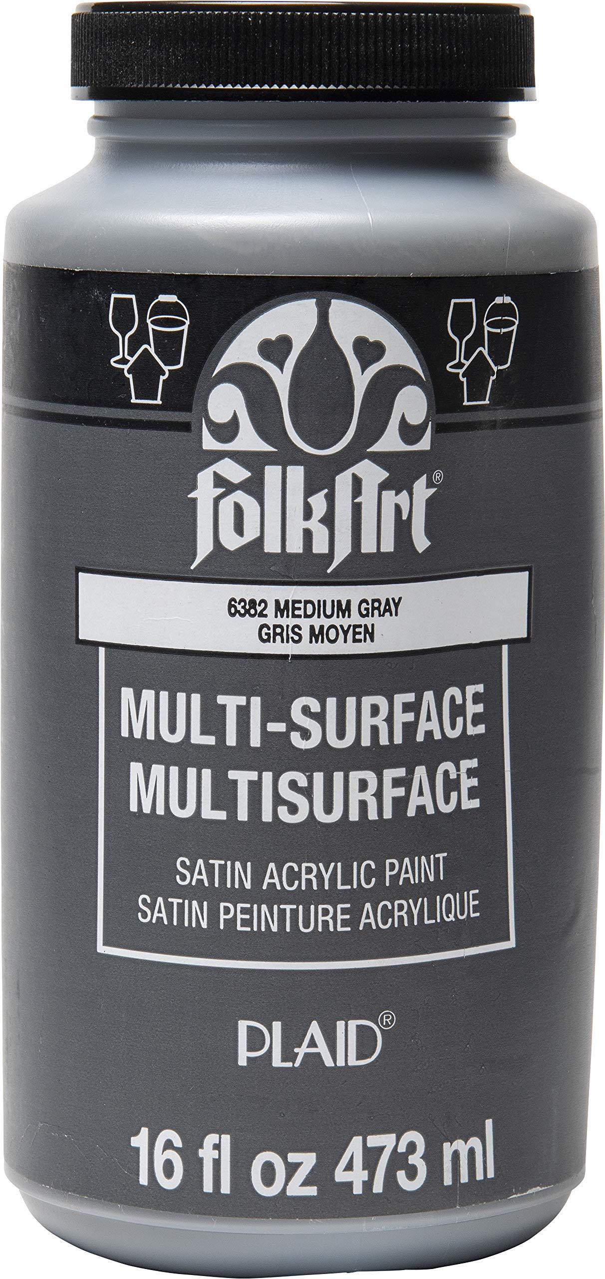 FolkArt 6382 Multi-Surface Satin Acrylic Paint in Assorted Colors, 16 oz, Medium Gray 16 Fl Oz