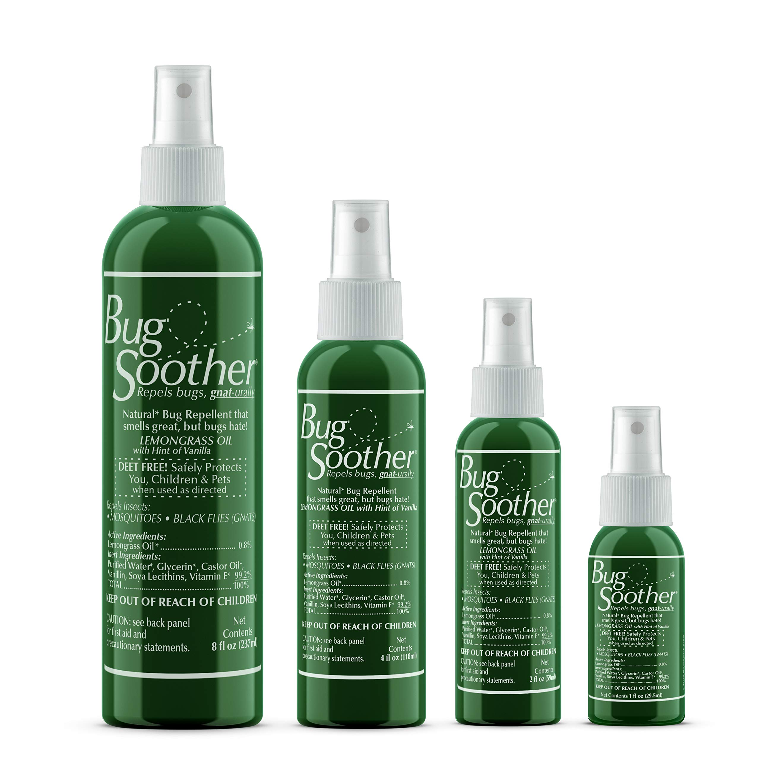 Bug Soother Spray Family Pack - Natural Insect, Gnat and Mosquito Repellent & Deterrent with Essential Oils - DEET Free - Safe Bug Spray for Adults, Kids, Pets, Environment - Made in USA