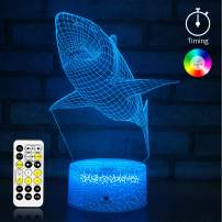 KMiKE 3D Night Light for Kids Boy Shark with Timer & Remote Control 7 Colors Touch Table Desk Lamps, Perfect Birthday for Kids Boys Girls (Shark)
