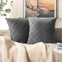 MIULEE Velvet Throw Pillow Covers Decorative Square Soft Solid Pillowcases Plaid 16 X 16 Inch Dark Grey Couch Pillows Set of 2 Cushion Covers with Invisible Zipper for Sofa Bedroom Living Room