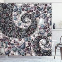 """Ambesonne Nature Shower Curtain, Garden Mountains Volcanic Stones Image of Pebbles on Cement Print, Cloth Fabric Bathroom Decor Set with Hooks, 75"""" Long, Blue Dimgrey"""