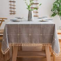 Melaluxe Stitching Tassel Tablecloth Heavy Weight Cotton Linen Fabric Dust-Proof Table Cover (Rectangle, 55 x 70 Inch, Gray)