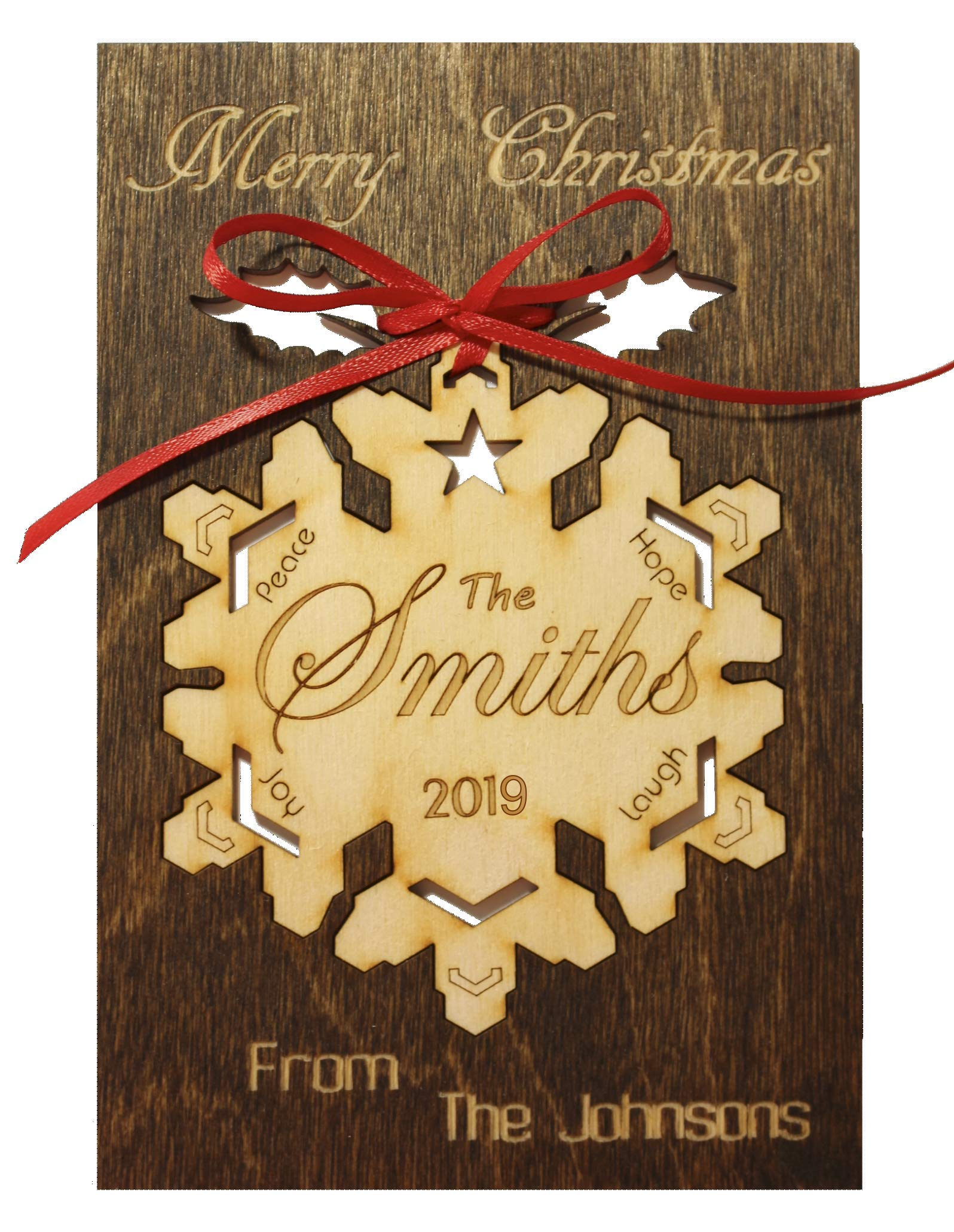 Personalized Real Wood Happy Holidays Greeting Card with Custom Merry Christmas Wooden Ornament Keepsake Best Souvenir Original Unique Present for Him or Her (Snowflake With The Star Wreath Ornament)