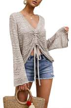 Ferbia Women Crochet Top Beach Cloth Drawstring Shirt Cover Up Oversized Sexy Beachwear Lace Up Tee Poncho
