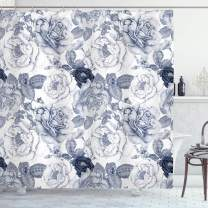 """Ambesonne Shabby Flora Shower Curtain, Garden Spring Roses Buds with Leaves Flowers Romantic Image Artwork, Cloth Fabric Bathroom Decor Set with Hooks, 75"""" Long, Cadet Blue"""
