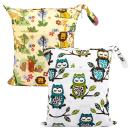 Zooawa Wet Dry Bag, 2 Pack Waterproof Reusable Portable Cloth Diapers Wet Bag with Double Zippered Pockets Carrying Storage Travel Bag Organizer for Baby Infants, Owl + Animal Forest