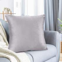 """Nestl Bedding Throw Pillow Cover 26"""" x 26"""" Soft Square Decorative Throw Pillow Covers Cozy Velvet Cushion Case for Sofa Couch Bedroom - Light Gray Lavender"""