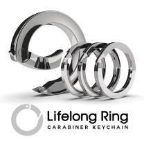 LIFELONG RING 300 Series (1) Circle Carabiner Keychain Clip & (3) Matching Flat-Style Key Rings for Keychain Set