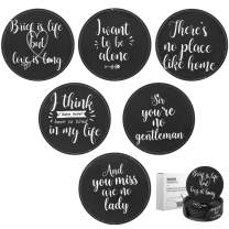 Nuovoware Round Coasters, [6-PACK] Premium PU Leather Coasters, Drink Round Cup Coasters Mats with Holder Set, Protect Your Furniture from Stains, Water Marks, Scratch, Black Quote