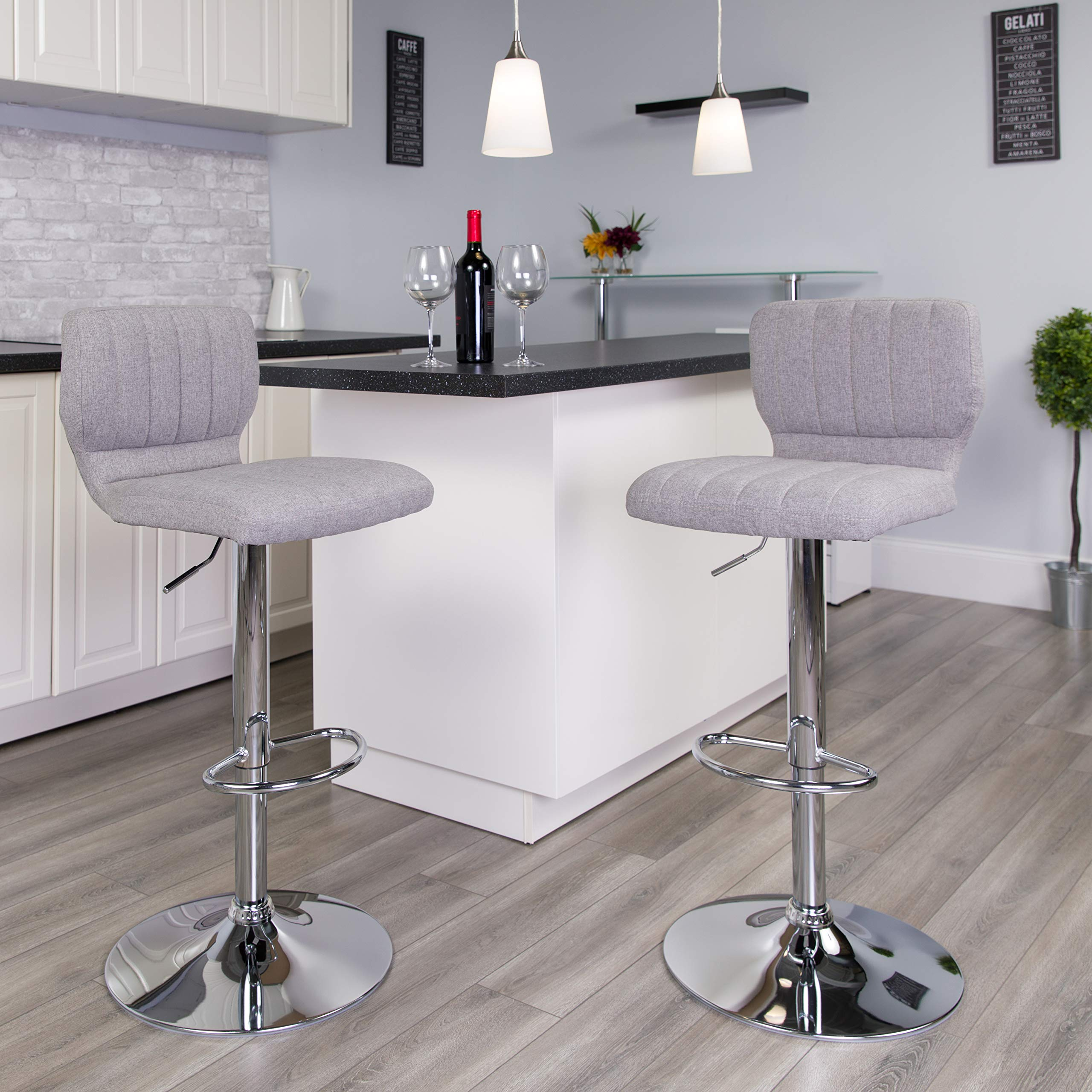 Flash Furniture Contemporary Gray Fabric Adjustable Height Barstool with Vertical Stitch Back and Chrome Base
