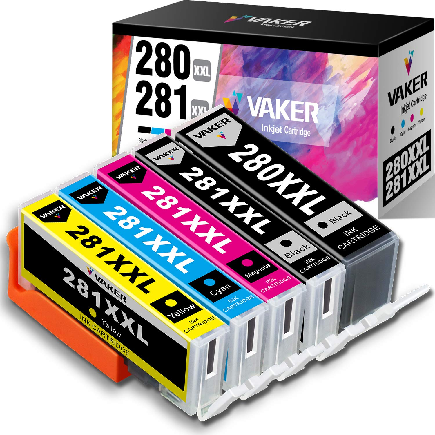 VAKER Compatible Ink Cartridge Replacement for Canon PGI-280XXL CLI-281XXL PGI 280 XXL CLI 281 XXL for Canon PIXMA TS9120 TR8520 TS6120 TS8220 TS6220 TS8120 TS9521C TR8500 TS6100 (5 Pack)