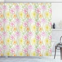 """Ambesonne Floral Shower Curtain, Hand Drawn Colorful Flourishing Spring Flowers Sketchy Design Natural Garden Theme, Cloth Fabric Bathroom Decor Set with Hooks, 70"""" Long, Fuchsia Green"""