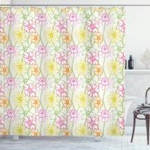"""Ambesonne Floral Shower Curtain, Hand Drawn Colorful Flourishing Spring Flowers Sketchy Design Natural Garden Theme, Cloth Fabric Bathroom Decor Set with Hooks, 84"""" Long Extra, Fuchsia Green"""