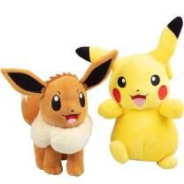 Pokémon Eevee and Pikachu 2 Pack Plush Stuffed Animals 8 Inch