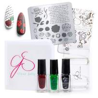 """CLEAR JELLY STAMPER - Authentic, Original & Patented Nail Art Tool: Nail Art Stamping Kit with a Soft Clear Stamper, Scraper, 2.4"""" x 2.4"""" Stainless Steel Stamping Plate, Stamper Cleaner & 3 Polishes"""