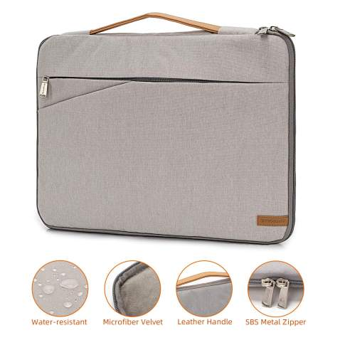 Laptop Sleeve 17.3 inch Polyester Vertical Style Water Repellent Laptop Sleeve Case Bag Cover Pocket Compatible with 17-17.3 inch MacBook Pro,Notebook (Gray)