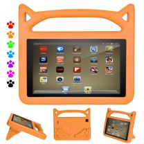 Kid Proof Case for 7 inch Tablet (Compatible with 2019&2017&2015 Release),Ubearkk Little Kids Light Weight Shock Proof Handle Stand Kids Case for 7 inch Display Table (Orange)
