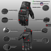 Jackets4Bikes Motorcycle Men's Aniline Goat Leather Gloves | Mesh Tactical Airsoft Touch Screen Full Finger Glove | MTB Bike Cycling ATV Outdoor Work XXL