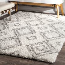 "nuLOOM 10' 6"" x 14'Cozy Soft and Plush Moroccan Trellis Iola Easy Shag Indoor Area Rug, White"