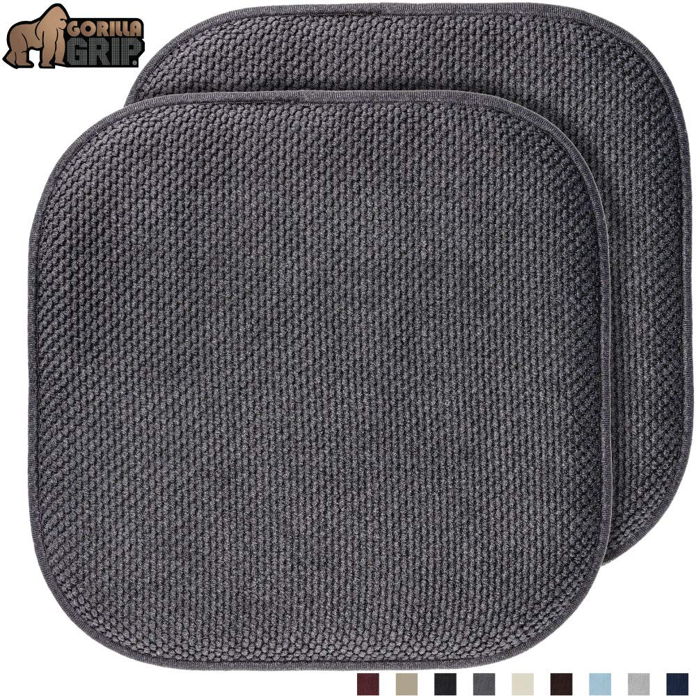 Gorilla Grip Original Premium Memory Foam Chair Cushions, 2 Pack, 16x16 Inch, Thick Comfortable Seat Cushion Pad, Large Size, Slip Resistant, Durable Soft Mat Pads for Office, Kitchen Chairs, Gray