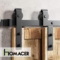 Homacer Sliding Barn Door Hardware Single Track Bypass Double Door Kit, 14FT Flat Track Classic Design Roller, Black Rustic Heavy Duty Interior Exterior Use