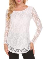 SoTeer Women's Lace Sleeveless/Long Sleeve Blouse Curved Hem Double Layers Blouse Shirts Tank Tops S-XXL