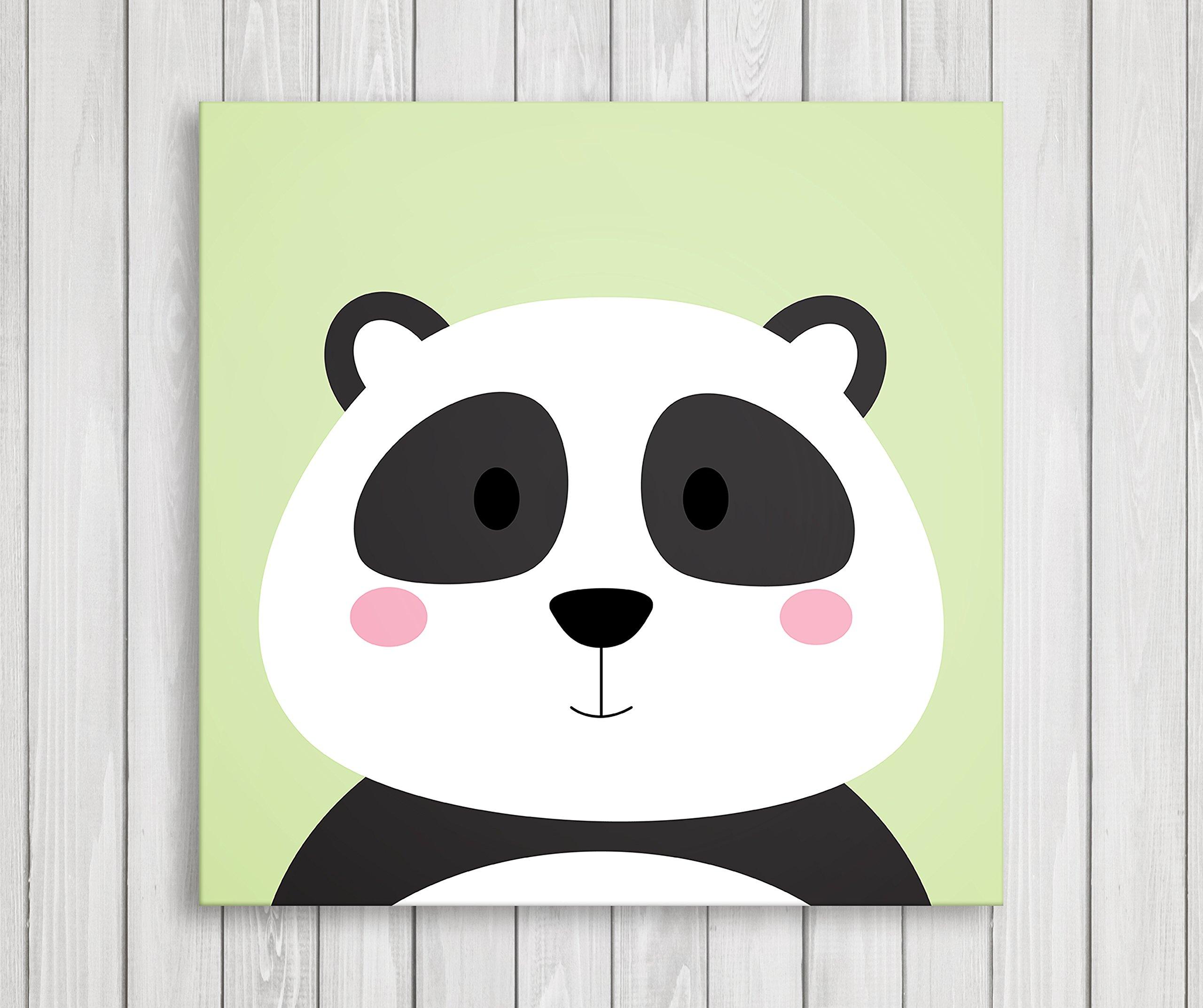 "Cute Little Animals, Nursery Canvas Print Wall Decor, Baby Kid Room Canvas Art Print, Safari Animals Poster Wall Art Print, Great Baby Shower Gift Set Idea - Ready to Hang (11""W x 11""H, Panda)"