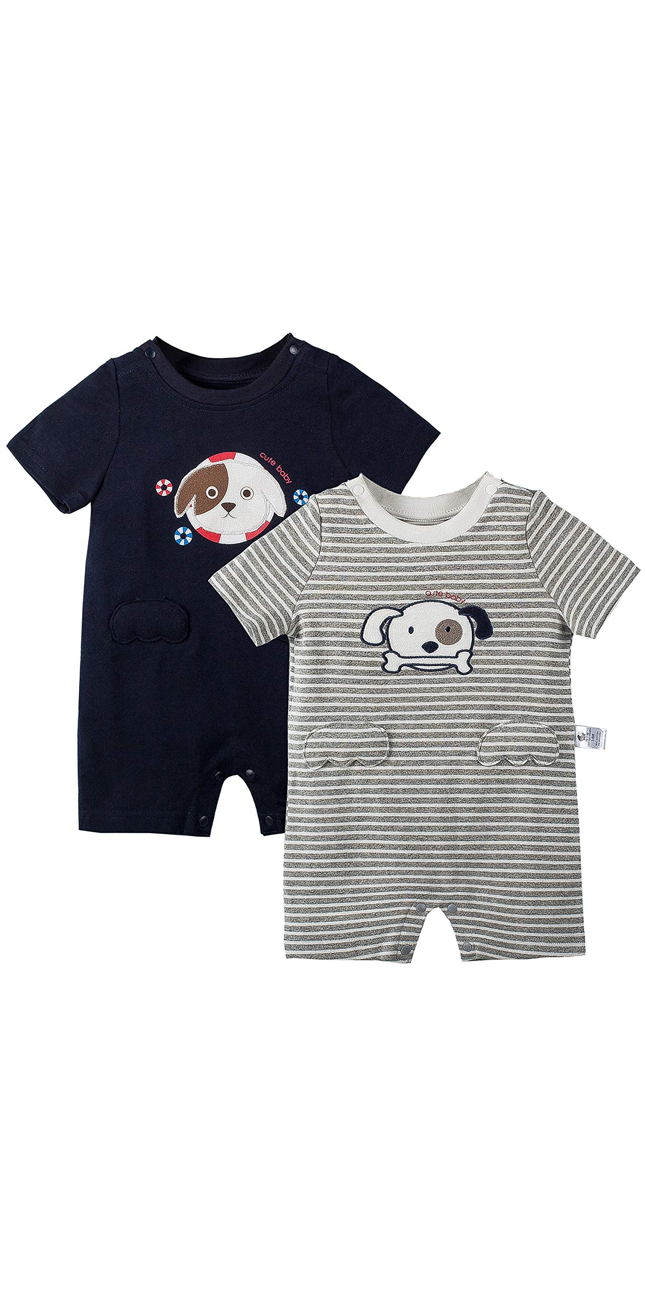 COTTON FAIRY Baby Boys' Romper Pack of 2