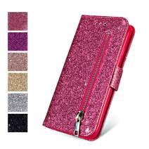 ZCDAYE Wallet Case for iPhone 6 Plus 6S Plus, Bling Glitter Sparkly Zipper PU Leather Magnetic Flip Folio Card Pockets Holder with Tape Protective Case Cover for iPhone 6 Plus/6S Plus - Pink