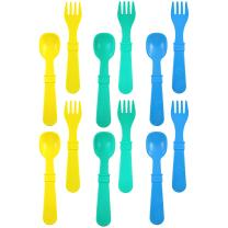 RE-PLAY Made in The USA 12pk Fork and Spoon Utensil Set for Easy Baby, Toddler, and Child Feeding in Yellow, Aqua and Sky Blue | Made from Eco Friendly Heavyweight Recycled Milk Jugs | (Surf)