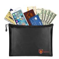 """Fireproof Money & Document Bag, MoKo B5 Size (11.8"""" x 8.2"""") Small Fire & Water Resistant Envelope File Holder Safe Zipper Pouch for Protecting Valuables, Passport, Documents, Cash, Jewelry, Black"""