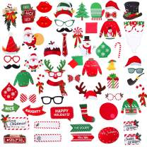 60 Pcs Christmas Photo Booth Props, Besteek Christmas Photo Props for Party Supplies, Holiday Photo Booth Props for Both Kids and Adults