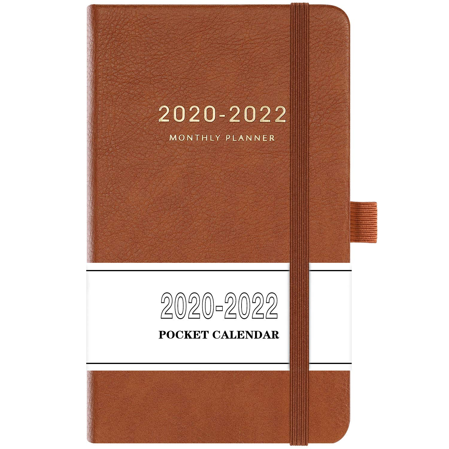 """2020-2022 Pocket Calendar - Monthly Pocket Planner (36-Month) with 63 Notes Pages, 3.8"""" x 6.3"""", 3 Year Monthly Planner with Contacts, Holidays and Pen Holder, Back Pocket, Gift Box - Brown"""