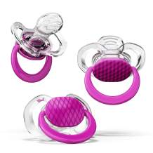 Smilo Orthodontic Pacifier, Expands to Support The Palate During Soothing, Plum, Stage 2 Suitable from 3 to 9 Months (Pack of 3)