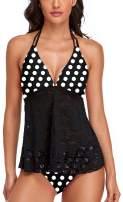 Women's 2 Piece Halter Tankini Swimsuits with Bikini Short Flounce Bathing Suit