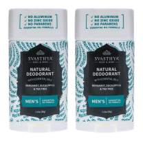 SVASTHYA BODY & MIND Natural Deodorant with Essential Oils - Men - Gentle Skin Nourishing with Refreshing Scent of Bergamot, Eucalyptus, Tea Tree & Coconut Oil - Made In The USA, 2.45oz- 2 Pk