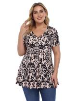 AMZ PLUS Women Plus Size Pleated Henley Tops V-Neck Loose Blouse Casual Tunic Shirt