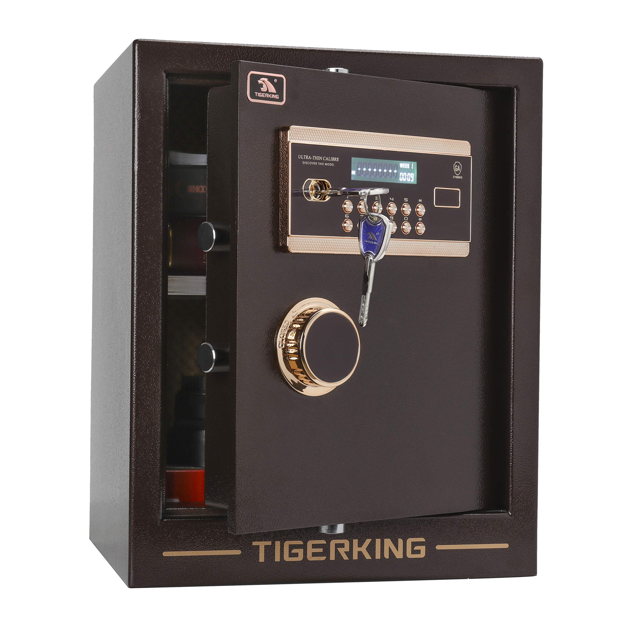 TIGERKING Digital Security Safe Box Solid Alloy Steel Construction with 4 Live-Locking Bolts Password Plus Key Setting for Home Office Hotel 1. 34 Cubic Feet