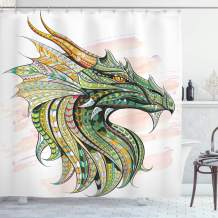 "Ambesonne Celtic Shower Curtain, Head of Dragon with Ornate Effects on Grunge Backdrop Mythical, Cloth Fabric Bathroom Decor Set with Hooks, 70"" Long, White Green"