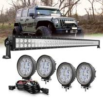 QuakeWorld DOT Approved 50Inch 288W Dual Row Toproof LED Light Bar + 4× 4inch 27W Flood Round Led Work Lights+ Rocker Switch Wiring Harness Kit for Jeep Truck Pickup Suv Polaris Ranger Rzr