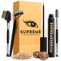 Organic SUPREME 7ML Eyelash Growth Serum and Brow Brushes - 100% Vegan Ingredients, Irritation Free & Concentrated Formula - Guarantee Results In Just 4 Weeks for Longer, Thicker Lashes