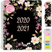 """HARDCOVER Academic Year 2020-2021 Planner: (June 2020 Through July 2021) 8.5""""x11"""" Daily Weekly Monthly Planner Yearly Agenda. Bonus Bookmark, Pocket Folder and Sticky Note Set (Black Floral)"""