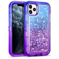 WESADN Case for iPhone 11 Pro Max Cases Clear Glitter for Women Girls Cute Protective Shockproof Heavy Duty Sparkle Quicksand Hard Bumper Soft TPU Cover for iPhone 11 Pro Max,6.5 Inches,Blue Purple
