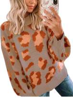 Angashion Women's Sweaters Casual Oversized Leopard Printed Crew Neck Long Sleeve Knitted Pullover Tops for Winter